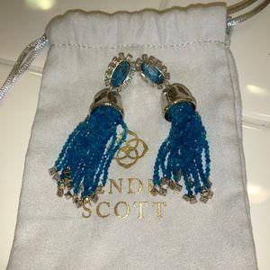 Kendra Scott Decker Tassel Dangling Earrings Aqua